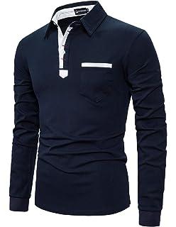 YCUEUST Polos Hombre Mangas Largas Camisas Algodón Slim Fit Camiseta Golf Clásico T-Shirts: Amazon.es: Ropa y accesorios