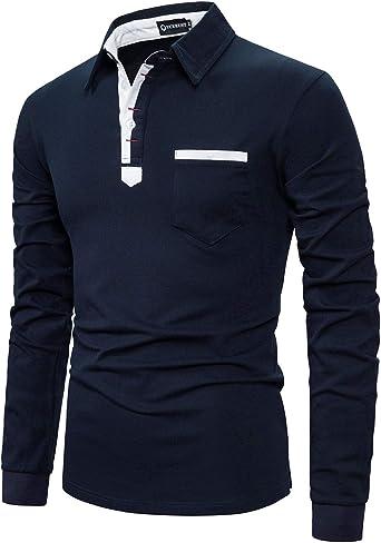 YCUEUST Hombre Polo Manga Larga Camiseta Algodón Slim fit Botón T-Shirt: Amazon.es: Ropa y accesorios
