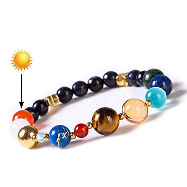 Chakra Passion Real Handmade Healing Bracelet Stone Beads Spiritual Yoga Solar System Bracelet - Reiki Prayer Stone Beads Bangles - Nine Planet Bracelet with Sun