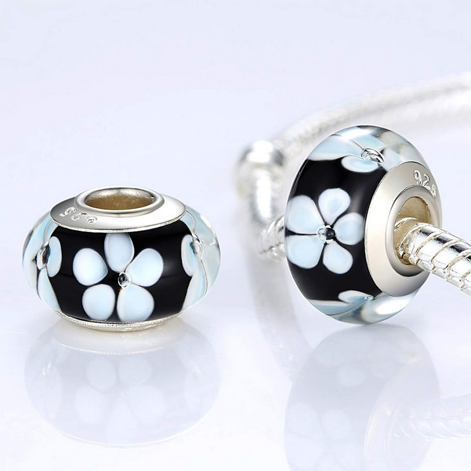 EverReena Beads Black Flower Murano Glass Charm for Silver Bracelets