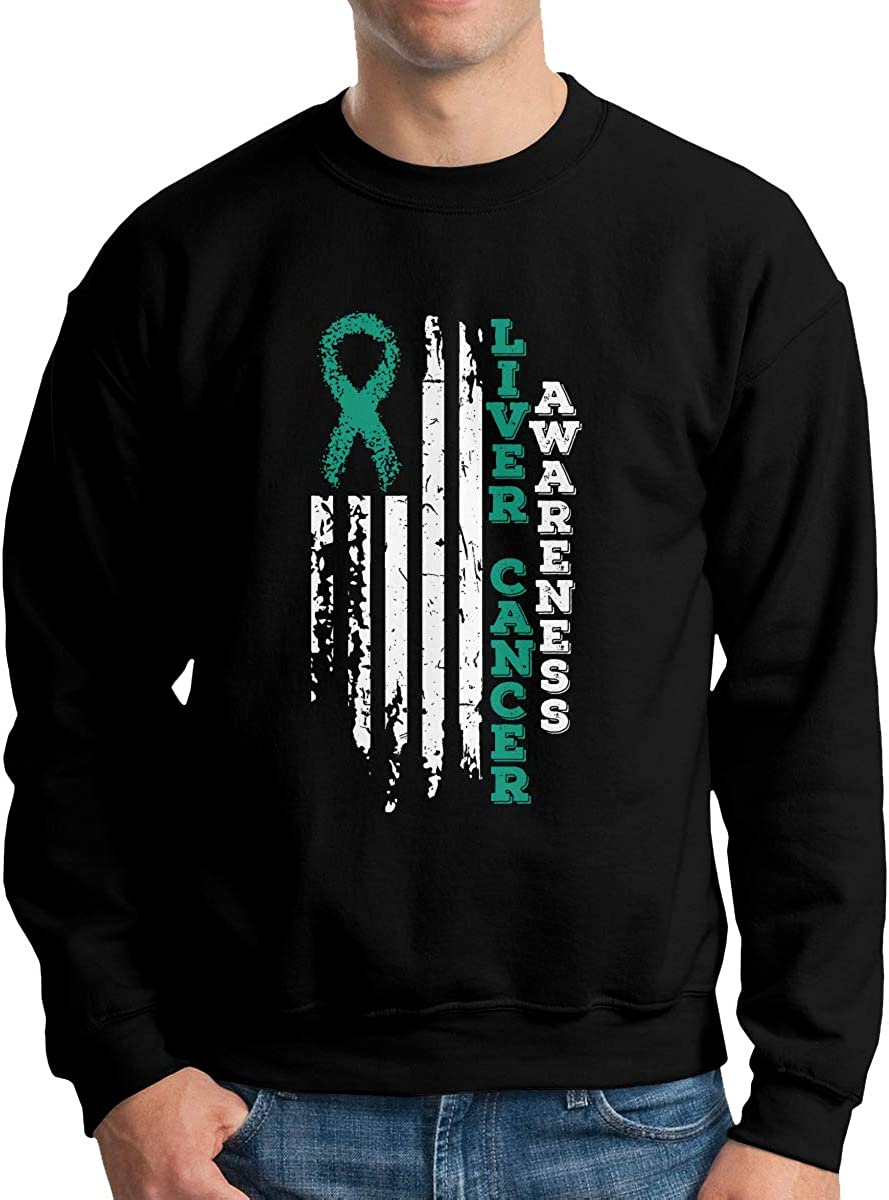 USA Flag Liver Cancer Awareness Mens Sweatshirts Pullover Crew Neck Sweatshirt