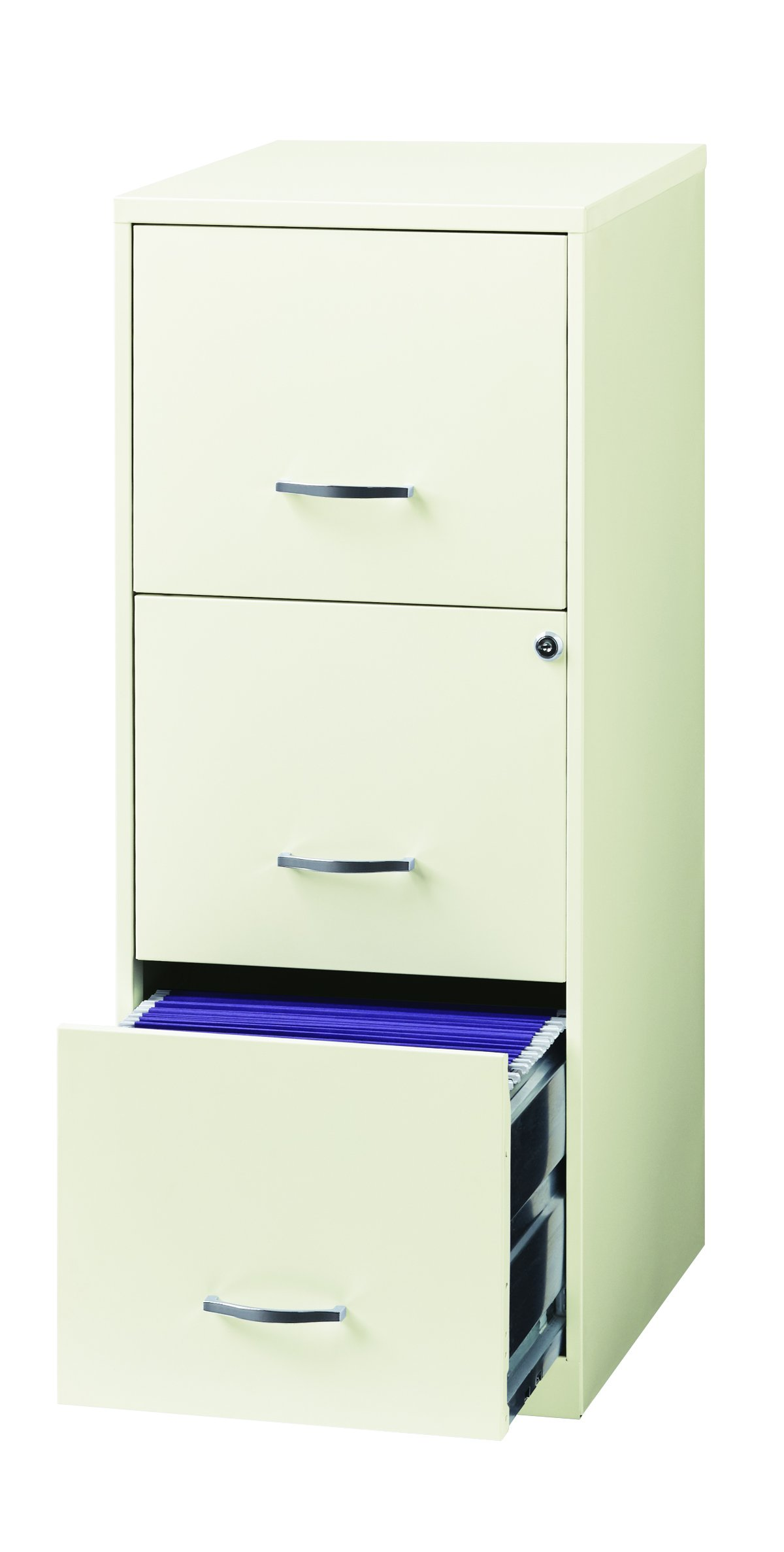 Space Solutions 3 Drawer Metal File Cabinet with lock, 18'' Deep For Office Storage - White