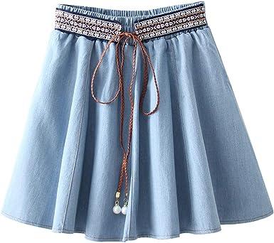 Faldas Vaqueras Jeans Verano, Falda a Media Pierna de Las señoras ...