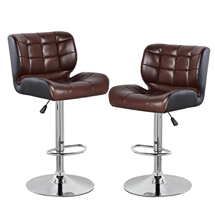 size 40 5b918 f176e eurosports Adjustable Counter Height Bar Stools Set of 2,PU Leather Modern  Swivel Barstools with Back,Brown and Black