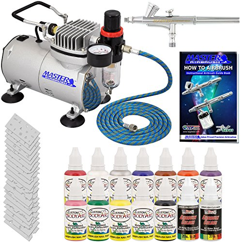 Master Airbrush® Brand Finger Nail Decorating System. 1 Airbrush, Air Compressor, Stencil Set of Over 100 Designs, 6' Hose, Kit of 12 Popular Nail Paint Colors in 2-oz Bottles, Airbrush Cleaner, & (Free) How to Airbrush Training Book to Get You Started. - Kustom Nail