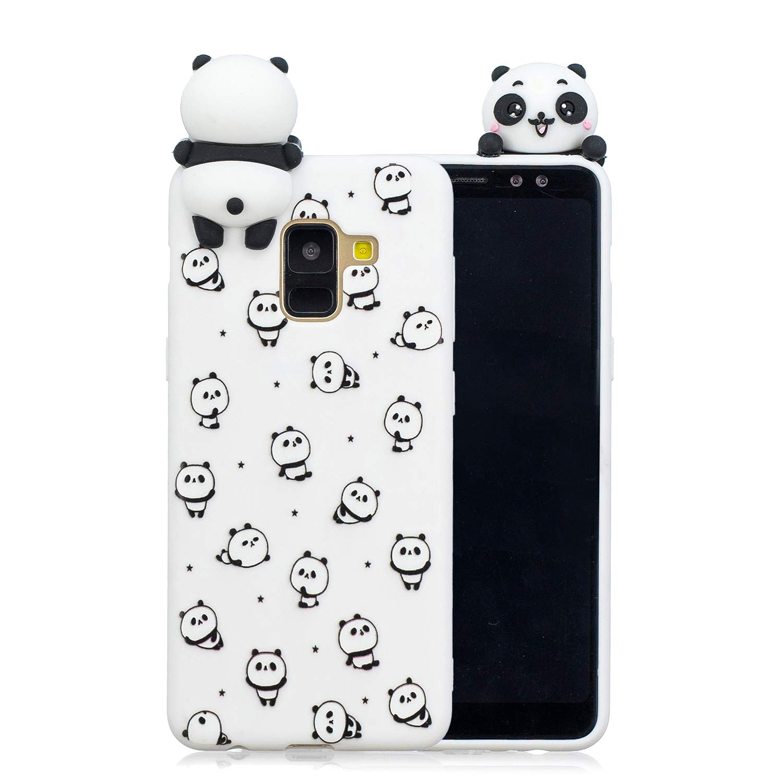 HopMore Compatible pour Coque Samsung Galaxy A6 2018 Silicone Souple 3D Design Motif Licorne Panda Drôle Mignonne Etui Samsung A6 Étui Antichoc Ultra Mince Fine Gel pour Fille Femme - Petit Panda
