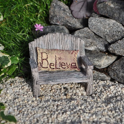 Miniature Fairy Garden - Bench w/ Believe Pillow (2-piece set) by Wholesale Fairy Gardens
