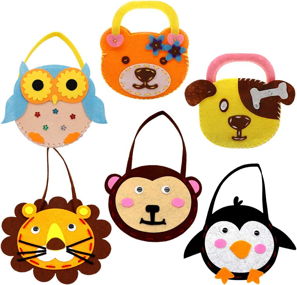 Daily Treasures 6 Set Sewing Kit for Kids Felt DIY Animal Theme Handmade Handbags-Nonwoven Craft Sewing Hand Stitch Play Gift with Safety Needle /& Harmless Felt for Children Beginner Young Boy Girl