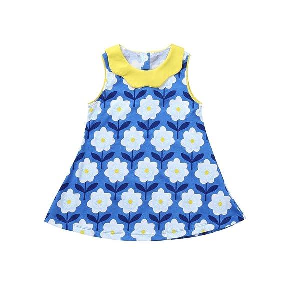 PAOLIAN Vestidos para Bebe Niñas Verano 2018 Vestidos Princesa Niñas Impreso Floral Volantes Sin Manga Cuello Redondo Vestidos Niñas Fiestas de 2 Años 3 ...
