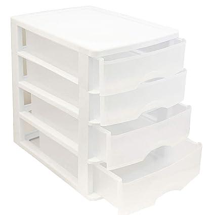 Cajonera de plástico Blanca 4 cajones 35 x 27 x 35.5 cm