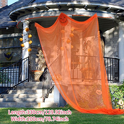 Pinji Halloween Hanging Ghost Scary Prop Skeleton Flying Ghost Decorations for Outdoor Yard Indoor Bar Party Decor Orange by Pinji (Image #3)