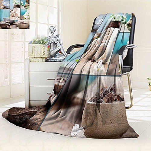 Original Luxury Duplex Printed Blanket, Hypoallergenic,Close to Your Heart Asian Massage Theme Collage Oils Candles Flowers Blue and White Perfect for Couch or Bed/W69 x ()
