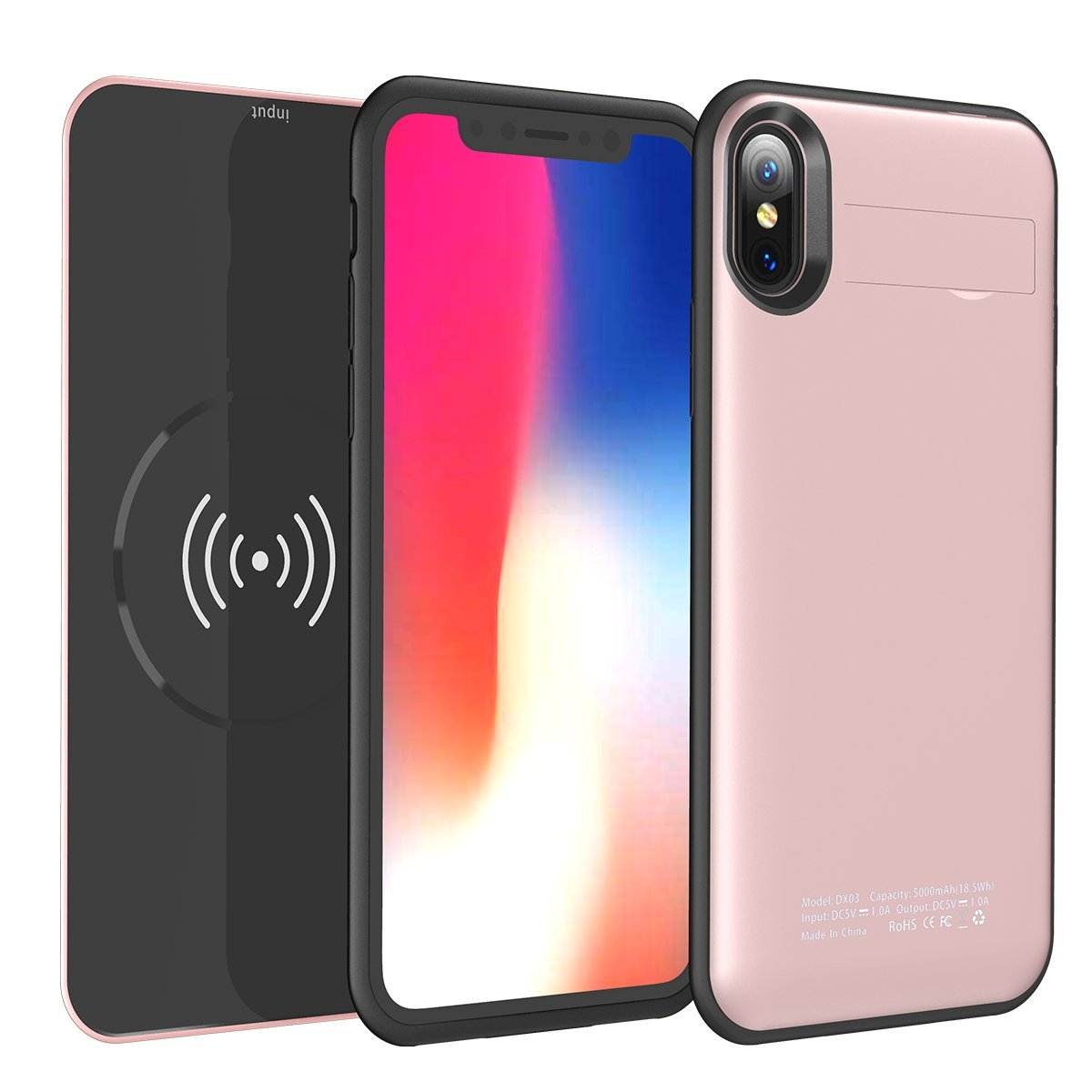iPhone X Battery Case with Qi Wireless Charging - 2 in 1 Rechargeable Extended Protective Battery Pack Charging Case with Magnetic Removable Wireless Power Bank 5000mAh and Foldable Kickstand-Rose