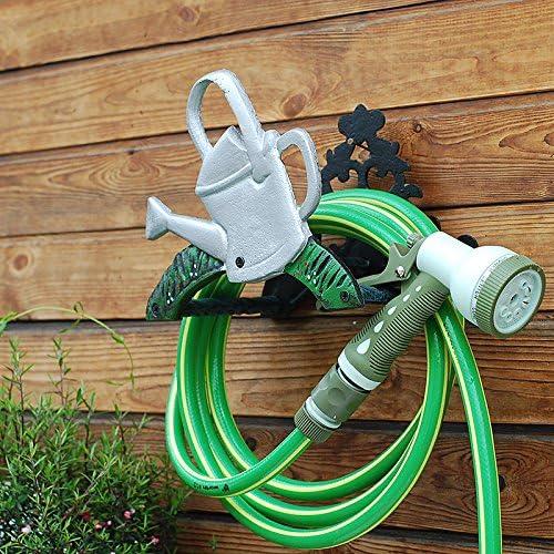 Sungmor Soporte para manguera de jardín de hierro fundido resistente, montaje en pared, estante para manguera de riego decorativo, decoración de jardín antiguo y patio: Amazon.es: Jardín