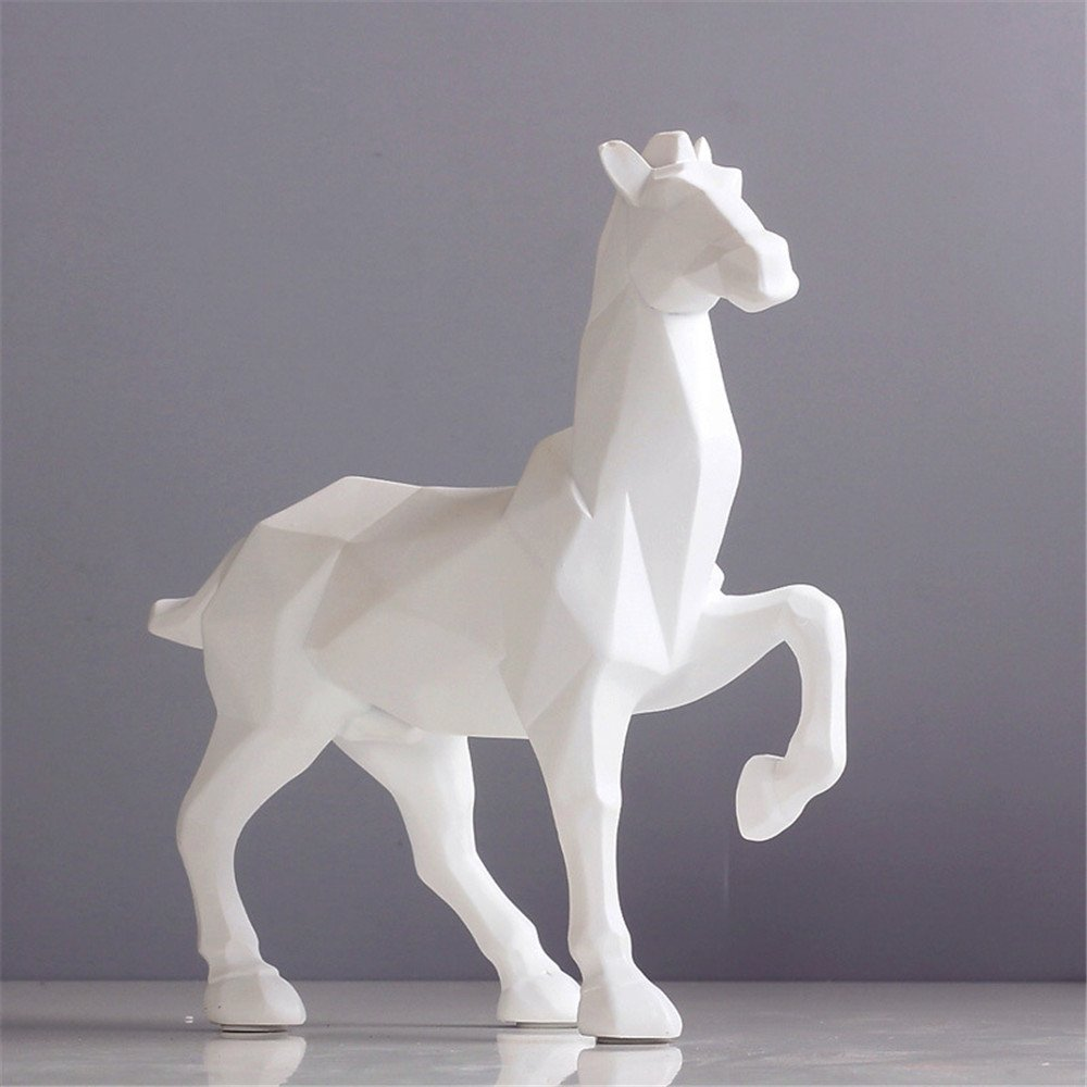 Horse Sculpture Statue Crafts Home Model Home Table Decoration Geometric Resin Animal Statue Crafts (White) by Lucky House (Image #3)