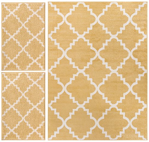 Nellis Trellis Yellow Gold Moroccan Lattice Geometric Oriental Yellow Gold Ivory 3-Piece Living Dining Room Entryway Bathroom Kitchen Ultra Value Area Rug Set 5x7 and Bonus 2x3 Mats ()