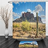 Vipsung Shower Curtain And Ground MatSaguaro CactusFamous Canyon Cliff with Dramatic Cloudy Sky Southwest Terrain Place Nature Brown Green BlueShower Curtain Set with Bath Mats Rugs