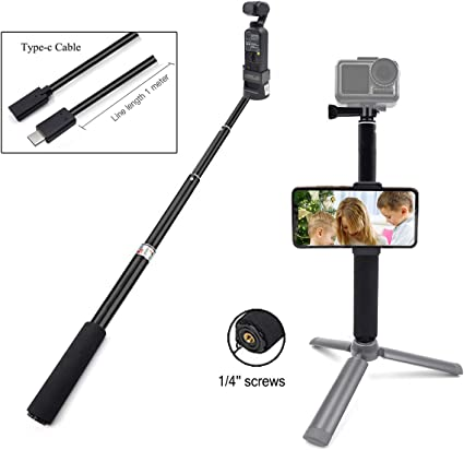 Micro Adapter for DJI OSMO Pocket Camera STARTRC OSMO Pocket Aluminum Handheld Mobile Phone Tripod Holder with Type C USB Cable