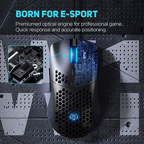 Ratón Gaming, 4800DPI y 6 Botones programables, 7 RGB con retroiluminación, ratón para Juegos liviano Inphic, para PC, computadora portátil, Trabajo y Juegos, Cable USB Compatible con Windows