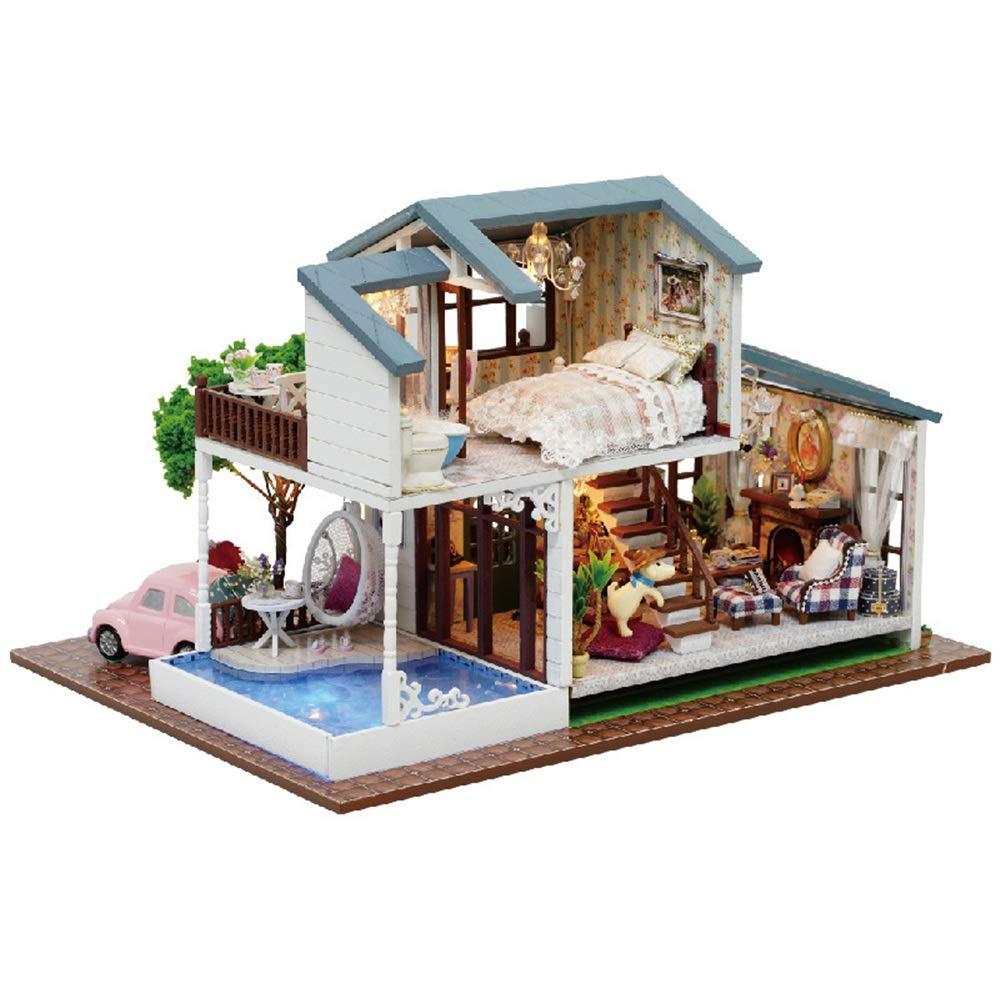 Bangxiu 3D Puzzles handgefertigte Miniatur Puppenhaus DIY Kit London Holiday Villa Puppenhäuser Zubehör Puppenhäuser mit Möbeln & LED Beste Geburtstagsgeschenke für Frauen und Mädchen