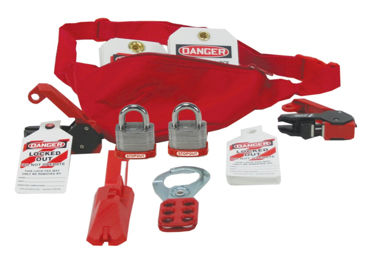 Accuform KSK115 STOPOUT Lockout/Tagout Pouch Kit, Includes the Most Important Electrical Lockout Products in a Contoured, Red Nylon Pouch, 11'' Width x 5'' Height x 3'' Depth, with Front Zipper, Adjustable Waist Strap, and Buckle Clip