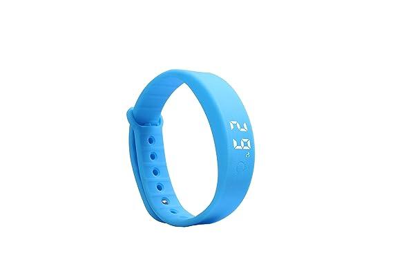 KuWFi W5S Reloj deportivo Pulsera Fitness Activity Tracker Pedómetro Contador de calorías Calculadora de la distancia Monitor del sueño Deporte Correr Paseando para las mujeres Hombres Niño (Azul)