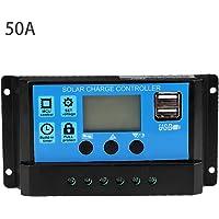 Qii lu 60A / 50A / 40A / 30A / 20A / 10A 12V 24V Controlador PWM, Controlador de carga solar automático(50A)