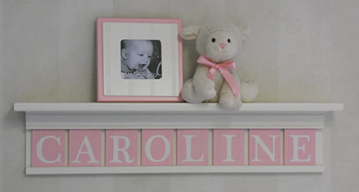 Amazoncom Pink Baby Girl Nursery Shelf Personalized Nursery - Light pink nursery decor
