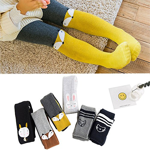 BONTOUJOUR Baby Girl Cute Animal Patterns Leggings Pants Kids Infant Pile-Loop Thick Fall Winter Warm Stretchy Tight Panties Yellow Fox 3-5 - Christmas Outfits Simple Cute