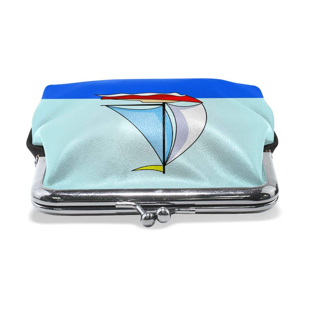 Classic Sail Boat Waves Credit Cards Buckle Coin Purse For Womens