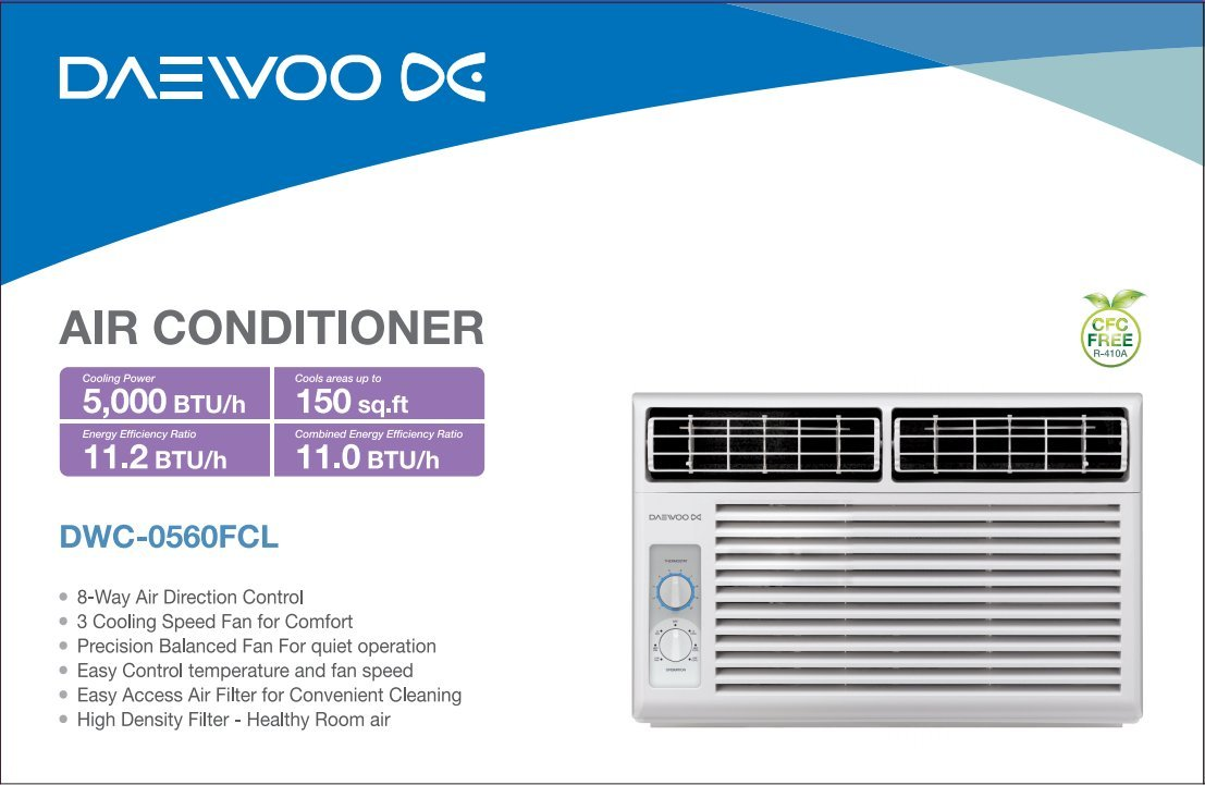 Daewoo 5000 BTU Window-mounted 115V | 60Hz - Mechanical Air ...