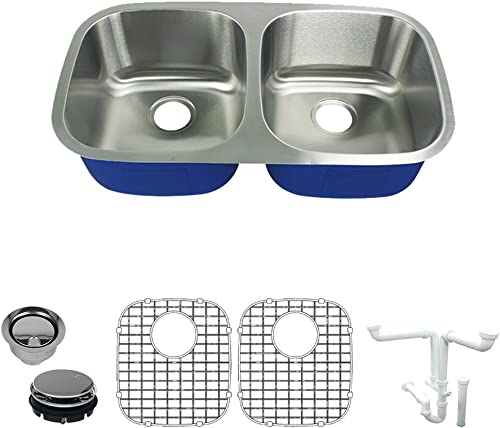 Transolid K-MUDE32189 Meridian Undermount 50 50 Double Bowl 16-Gauge Stainless Steel Kitchen Sink Kit, 32-in x 18-in x 9-in, Brushed Finish
