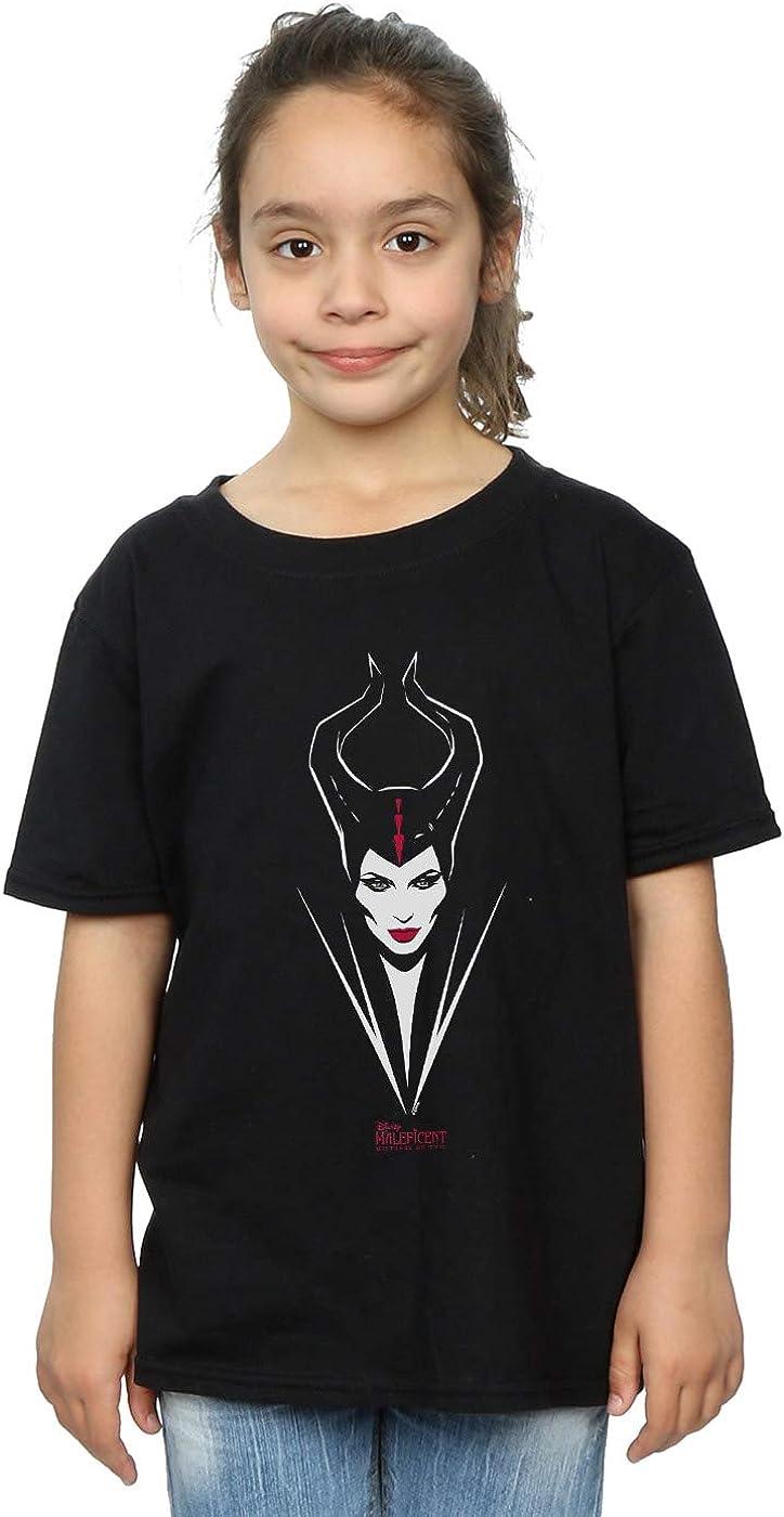 Disney Girls Maleficent Mistress of Evil Face T-Shirt
