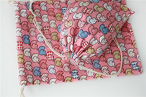 the love 5pc packed cartoon elephant design canvas drawstring storage sacks bags (L, PINK) by the love (Image #2)