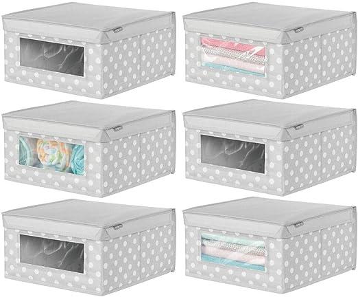 mDesign Juego de 6 cajas organizadoras de tela – Caja de ...