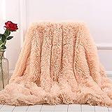 MYRU Plush Super Soft Blanket Bedding Sofa Cover Furry Fuzzy Fur Warm Throw Qulit Cozy Couch Blanket for Winter (51'x63', Peach)