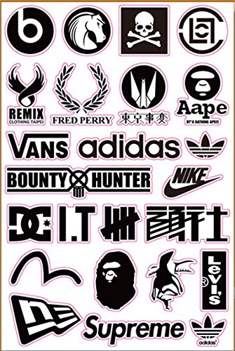 Brand Logo Bape Undefeated Skateboard Sticker Laptop Luggage Car Bumper (Nike Stickers)