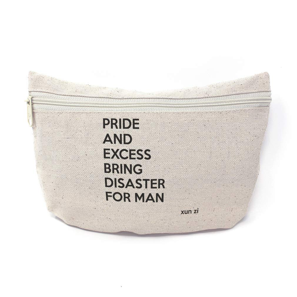 Custom Canvas Makeup Bag Famous Quote Pride and Excess Bring Disaster for Man Xun Zi School Supplies Pencil Tote Pouch 9x6 Inches Natural Design Only