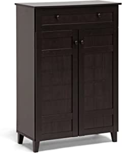 Baxton Studio Glidden Wood Modern Shoe Cabinet, Tall, Dark Brown