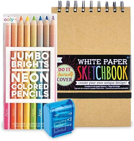 Ooly Happy Pack, lápices de colores neón + funda blanca para cuaderno de dibujo + sacapuntas – Jumbo Brights Sketch: Amazon.es: Juguetes y juegos