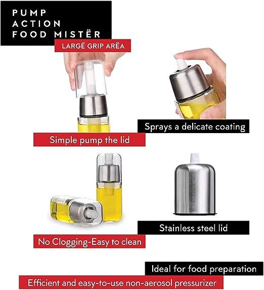 TrifyCore Aceite de Oliva Botella pulverizador de Acero Inoxidable en Aerosol para cocinar Aceite Aceite de Mister Dispensador para Barbacoa fre/ír Hornear 1PC