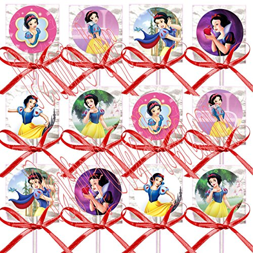 Snow White Party Favors Supplies Decorations Princess Lollipops w/ Red Ribbon Bows Party Favors -12 pcs (Decorations White Snow Ideas)