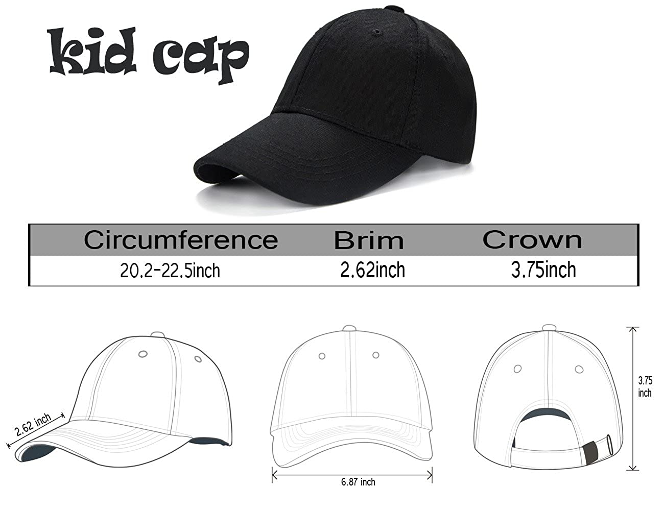 81b393d66e8 Amazon.com  Edoneery Unisex Kids Plain Cotton Adjustable Low Profile  Baseball Cap Hat (Black)  Clothing