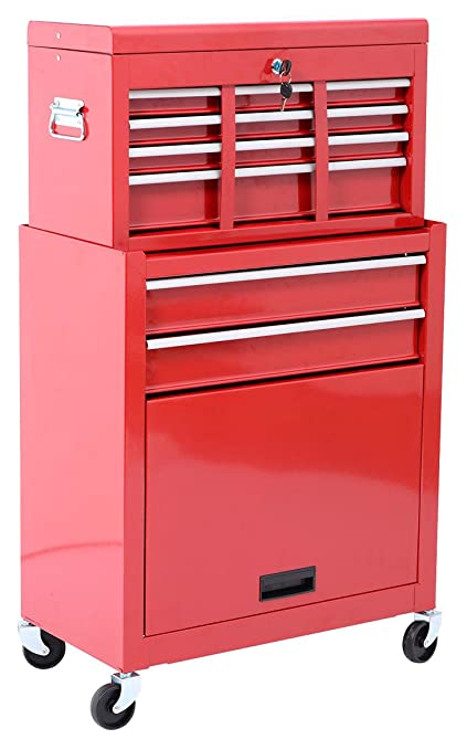 HomCom Rolling Tool Cabinet With 6 Drawer And Removable Tool Box   Red