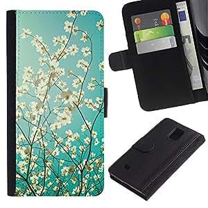Be Good Phone Accessory // Caso del tirón Billetera de Cuero Titular de la tarjeta Carcasa Funda de Protección para Samsung Galaxy Note 4 SM-N910 // Sunshine Tree Sunny Summer