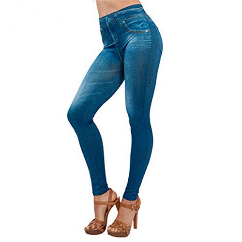 Women Yoga Pants Teal,Women Denim Pants Pocket Slim Leggings Fitness Plus Size Leggins Length Jeans,Blue,S