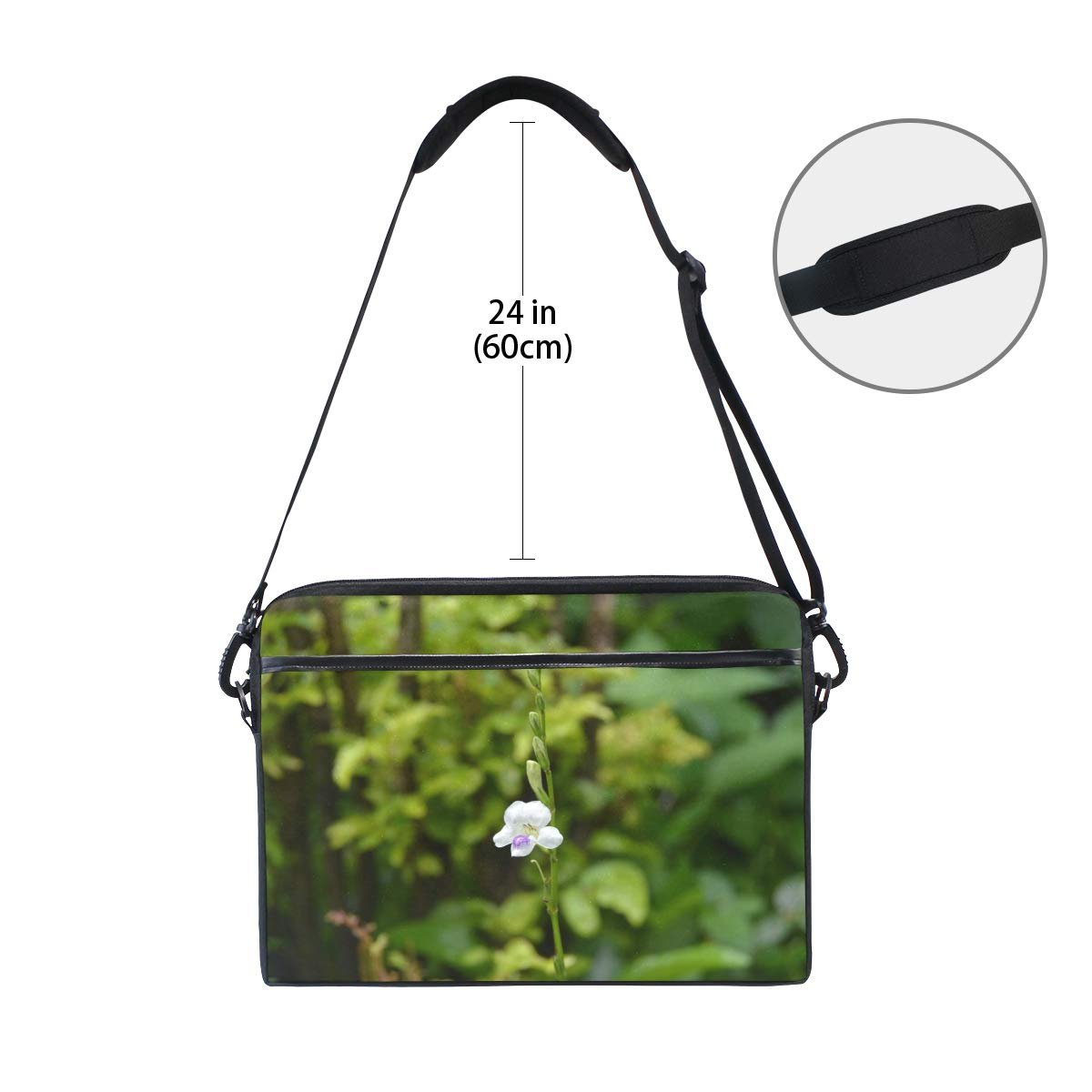 White Flower Green Leaf Mens and Womens Computer Bags Shoulder Bags Suitable for 15 Inch Computers Handbags Briefcases