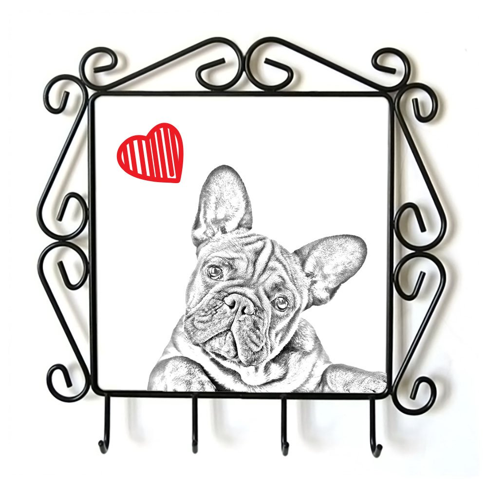 French Bulldog, Clothes Hanger with an Image of a Dog and Heart