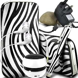 ONX3 Samsung Gaxaxy Light protección Zebra PU Leather Slip Tire Cord En la bolsa del lanzamiento rápido con Mini capacitivo Stylus Pen, 3.5mm en auriculares del oído, mini altavoz recargable Cápsula, Micro USB CE aprobó 3 Pin Cargador (Blanco y Negro)