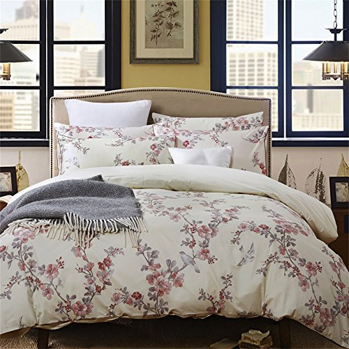 Brandream Garden Chinoiserie Floral Duvet Quilt Cover Asian Porcelain Style Tree Blossom and Birds Blue and White Watercolor Pattern 300tc Cotton Percale 3pc Bedding Set (Full,Cream Red)